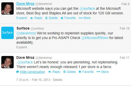 Twitter conversation with Microsoft